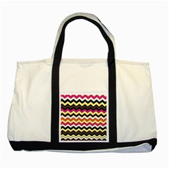 Colorful Chevron Pattern Stripes Two Tone Tote Bag by Amaryn4rt