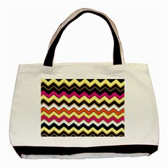 Colorful Chevron Pattern Stripes Basic Tote Bag (two Sides) by Amaryn4rt