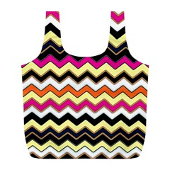Colorful Chevron Pattern Stripes Full Print Recycle Bags (l)  by Amaryn4rt