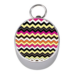 Colorful Chevron Pattern Stripes Mini Silver Compasses by Amaryn4rt