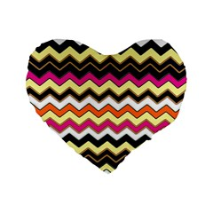 Colorful Chevron Pattern Stripes Standard 16  Premium Flano Heart Shape Cushions