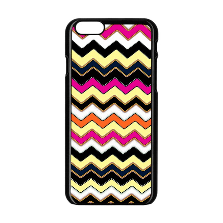 Colorful Chevron Pattern Stripes Apple iPhone 6/6S Black Enamel Case