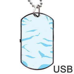 Blue Tiger Animal Pattern Digital Dog Tag Usb Flash (two Sides) by Amaryn4rt