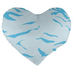 Blue Tiger Animal Pattern Digital Large 19  Premium Flano Heart Shape Cushions by Amaryn4rt