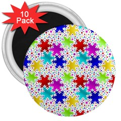 Snowflake Pattern Repeated 3  Magnets (10 Pack)  by Amaryn4rt