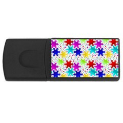 Snowflake Pattern Repeated Usb Flash Drive Rectangular (4 Gb) by Amaryn4rt