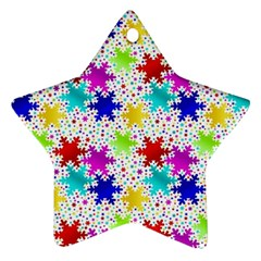 Snowflake Pattern Repeated Star Ornament (two Sides) by Amaryn4rt