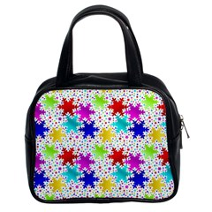 Snowflake Pattern Repeated Classic Handbags (2 Sides) by Amaryn4rt