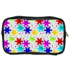 Snowflake Pattern Repeated Toiletries Bags 2 Side by Amaryn4rt