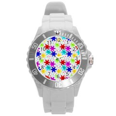 Snowflake Pattern Repeated Round Plastic Sport Watch (l) by Amaryn4rt