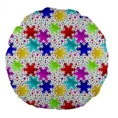 Snowflake Pattern Repeated Large 18  Premium Round Cushions by Amaryn4rt