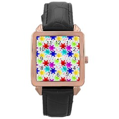 Snowflake Pattern Repeated Rose Gold Leather Watch  by Amaryn4rt