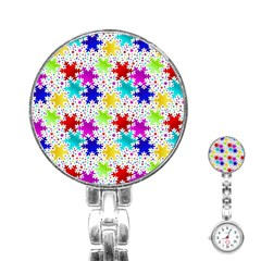 Snowflake Pattern Repeated Stainless Steel Nurses Watch by Amaryn4rt