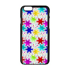Snowflake Pattern Repeated Apple Iphone 6/6s Black Enamel Case by Amaryn4rt