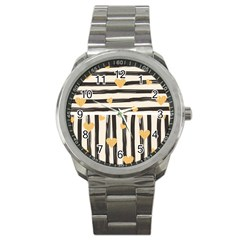 Black Lines And Golden Hearts Pattern Sport Metal Watch by TastefulDesigns