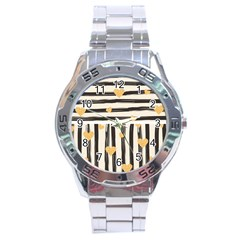 Black Lines And Golden Hearts Pattern Stainless Steel Analogue Watch by TastefulDesigns