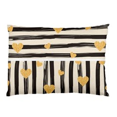 Black Lines And Golden Hearts Pattern Pillow Case (two Sides) by TastefulDesigns