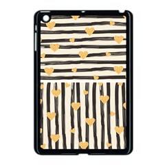 Black Lines And Golden Hearts Pattern Apple Ipad Mini Case (black)