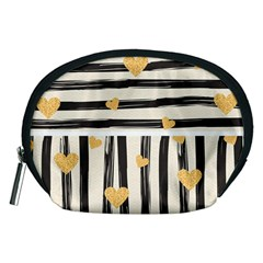 Black Lines And Golden Hearts Pattern Accessory Pouches (medium)  by TastefulDesigns