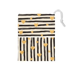 Black Lines And Golden Hearts Pattern Drawstring Pouches (medium)