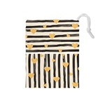 Black lines and golden hearts pattern Drawstring Pouches (Medium)  Front