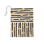 Black lines and golden hearts pattern Drawstring Pouches (Medium)  Back