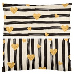 Black Lines And Golden Hearts Pattern Large Flano Cushion Case (two Sides) by TastefulDesigns