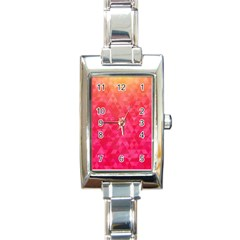 Abstract Red Octagon Polygonal Texture Rectangle Italian Charm Watch by TastefulDesigns