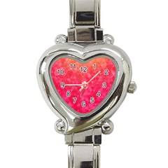 Abstract Red Octagon Polygonal Texture Heart Italian Charm Watch by TastefulDesigns