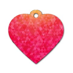 Abstract Red Octagon Polygonal Texture Dog Tag Heart (two Sides) by TastefulDesigns