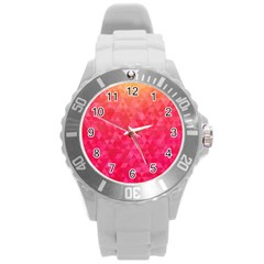 Abstract Red Octagon Polygonal Texture Round Plastic Sport Watch (l) by TastefulDesigns