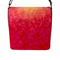 Abstract Red Octagon Polygonal Texture Flap Messenger Bag (l)  by TastefulDesigns