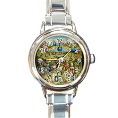 Hieronymus Bosch Garden Of Earthly Delights Round Italian Charm Watch by MasterpiecesOfArt