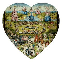 Hieronymus Bosch Garden Of Earthly Delights Jigsaw Puzzle (heart) by MasterpiecesOfArt
