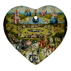 Hieronymus Bosch Garden Of Earthly Delights Heart Ornament (two Sides) by MasterpiecesOfArt