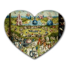 Hieronymus Bosch Garden Of Earthly Delights Heart Mousepads by MasterpiecesOfArt