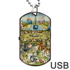 Hieronymus Bosch Garden Of Earthly Delights Dog Tag Usb Flash (two Sides) by MasterpiecesOfArt