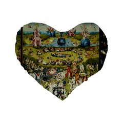 Hieronymus Bosch Garden Of Earthly Delights Standard 16  Premium Heart Shape Cushions by MasterpiecesOfArt
