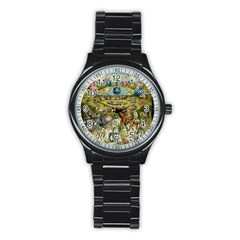 Hieronymus Bosch Garden Of Earthly Delights Stainless Steel Round Watch by MasterpiecesOfArt
