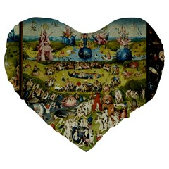Hieronymus Bosch Garden Of Earthly Delights Large 19  Premium Flano Heart Shape Cushions by MasterpiecesOfArt