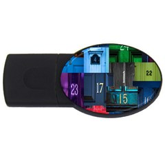 Door Number Pattern Usb Flash Drive Oval (2 Gb) by Amaryn4rt