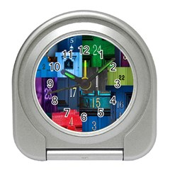 Door Number Pattern Travel Alarm Clocks by Amaryn4rt