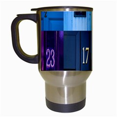 Door Number Pattern Travel Mugs (white) by Amaryn4rt