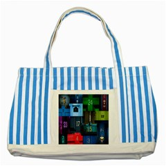 Door Number Pattern Striped Blue Tote Bag by Amaryn4rt