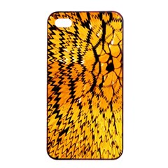 Yellow Chevron Zigzag Pattern Apple Iphone 4/4s Seamless Case (black) by Amaryn4rt