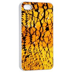 Yellow Chevron Zigzag Pattern Apple Iphone 4/4s Seamless Case (white) by Amaryn4rt