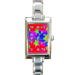 Red Background With A Stars Rectangle Italian Charm Watch by Amaryn4rt