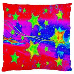 Red Background With A Stars Large Flano Cushion Case (one Side) by Amaryn4rt