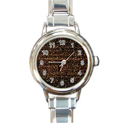 Colorful And Glowing Pixelated Pattern Round Italian Charm Watch by Amaryn4rt