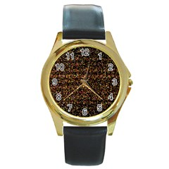 Colorful And Glowing Pixelated Pattern Round Gold Metal Watch by Amaryn4rt